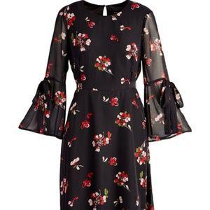 NWT Nine West Black & Crimson Floral Dress